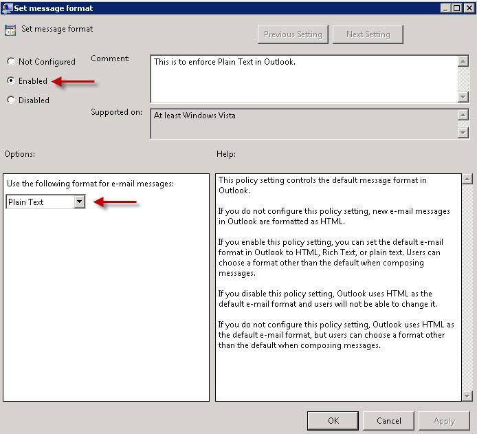 Enforce Plain Text Outlook 2010 | Tim Bolton - MCITP - MCTS